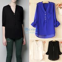 2014 Hot Chiffon Women Blouses Shirts Spring V-neck Elegant Casual Foldable Sleeves Tops 3Colors 3Sizes 19507