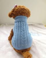 Dog Pet Sweater Coat Clothes, Multi-color Aran Knit, Soft Cozy Dog blue Clothes D4-F