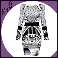Newest Long Sleeve Geomestric Printed HL Bandage Dress Hit Colour Backless Bodycon Dress Factory Dropshipping good quality