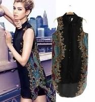 New! Stylish Fashion Sleeveless Turn down Collar Woman's Asymmetrical Blouses Sexy Lady Loose Shirts Chiffon Tops 121807