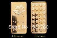 5 Gram 100mills Maple Leaf Gold Bar