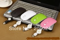 Retractable Wired Mouse Retractable USB cable mute button all common computer (Send gifts mouse pad )
