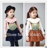 Fashion Frill Collar children princess cotton long sleeve T-shirt 2014 kids spring autumn clothing sweet baby girls top clothing