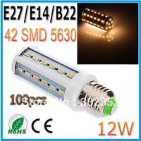 FEDEX DHL Free Shipping 100pcsx 12W 42LED 5630 SMD E27 E14 B22 Corn Bulb Light Maize Lamp LED Light Bulb Lamp LED Lighting