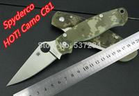 HOT!!! 60HRC,CPM-S30V Blade Spyderco C81 Para survival knife Pocket Folding knife camping knife G10 Handle+Free shipping