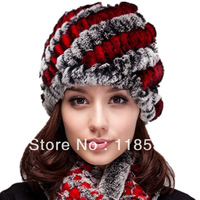 Quality fur hat handmade knitted hat high quality rex rabbit hair hat double layer large