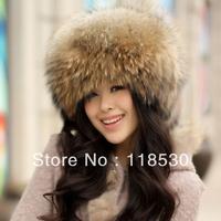 Luxury Real fox fur or raccoon fur hat Beanie hat cap ladies' headgear Nature Raccoon color
