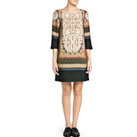 2013 Print Dress half sleeve crew neck positioning-WQZ11318