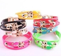 Hot ! 12 Pcs Blending Fashion Leather Bracelet Owl  A010268