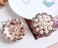 Free Shipping!50pcs/lot  32MM metal rhinestone pearl cluster button wedding embellishment garment DIY hair accessory