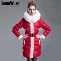 Free Shipping 2014 Thickening Big White Fur Collar Red Down Jacket Medium-Long Down Coat For Women