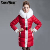 Free Shipping 2014 Thickening Big White Fur Collar Red Down Jacket Medium-Long Down Coat For Women