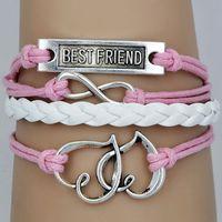 Hot 2014 NEW fashion pink or blue vintage rope infinity best friend leather bracelet charm bracelet of heart