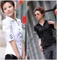 New 2014 Women Shirt Summer Large Size Blouse Puff Sleeve Black White XXXXXL POLO Shirts Lady Bows Short Tops 100% Cotton