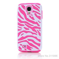 2 in 1 Zebra Skin Pattern PC and Silicone Armor Case Cover for Samsung Galaxy S4 I9500