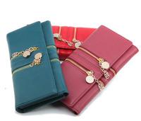 2014  new wallets fashion new arrival double zipper chain women's long design PU wallets