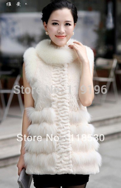 2013 New Style Rabbit Fur Vest with Fox Fur Trimmi