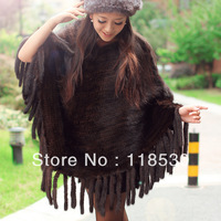 2013 autumn and winter mink fur cloak outerwear tassel female mink cloak cape