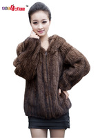 2013 mink fur knitted outerwear long-sleeve with a hood fashion fur coat