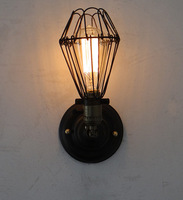 Light bulb american vintage loft wall lamp wrought iron wall lights