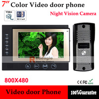 7 inch TFT Monitor Color Video Door Phone Bell Intercom System Night Vision Doorphone Camera Support SD Take Picture Recording