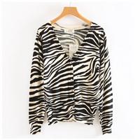 Top quality 2014 Fashion Spring Sweater Womens Cardigan Sexy Zebra Stripes painting cardigan tricotado crochet poncho WS-015