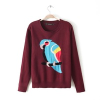 2014 new winter parrot picture round neck sweater European and American women's head straight type wholesale