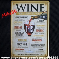 [ Mike86 ] Wine From around the world Metal Poster Tin Sign Wall decor Bar Retro Painting A-379 Mix order 20*30 CM