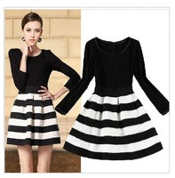 Free Shipping Top Quality Patchwork Stripped Bottom Knitted Long Sleeve Women Dress for Wholesale SP187