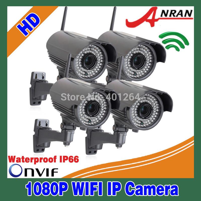 Onvif h. 264 capteur sony full 1920x1080 25 fps 4 pcs hd 1080p réseau sans fil wifi caméra ip imperméable à l'eau ir 78 2.8-12mm lentille