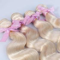 613# Blonde Body Wave Hair Weft , Brazilian Virgin Hair , Grade 5A  Can be dyed , No Tangle No Shedding  Qingdao Factory Sale