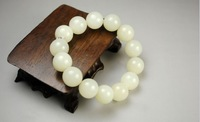 10mm medallion bead string hand act the role ofing is tasted Hetian jade suet white jade jade bracelet Freeshipping