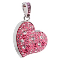 100% Full Capacity Bling Crystal Heart USB 2.0 Memory Stick Flash Drive USB flash disk 8GB, 16GB & 32GB