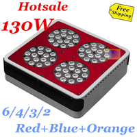 Free shipping 130w grow lights led panel nitendo Red Blue Orange 660nm/630nm/460nm/610nm=6/4/3/2