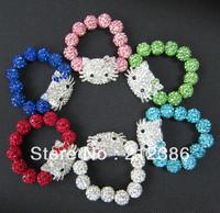 2013 On Sale Fashion Children Jewelry Crystal Beads Hello Kitty Shamballa Bracelet Bangle Kids Bracelet Wholesale Charm