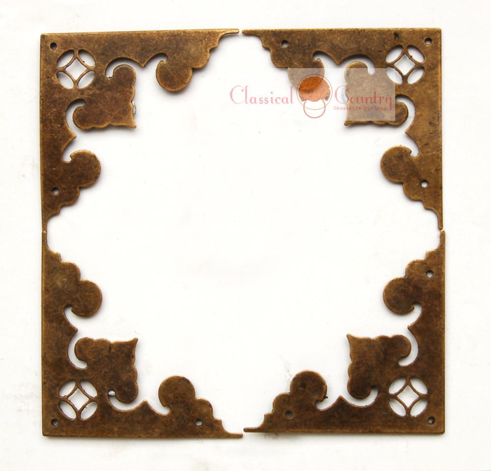 Brass Hardware Flat Corners Brackets for Chinese Wooden Furniture Cabinet Trunk Jewelry Box Closet(China (Mainland))