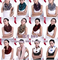 BG29503 Many Color Infinity Scarf Winter Scarves For Women Genuine Rex Fur Infinity Scarf Pattern
