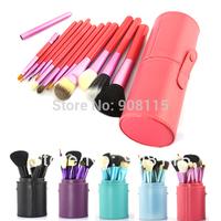 Makeup Brushes 12PCS Pink Cosmetic Set  Eyeshadow wood Brush Blusher Pink Holder Make up Brush estojo de Maquiagem Pinceis