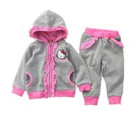 Retail free shipping  fashion cute Flouncing hello kitty children clothing set shirt +pants children kids suit GCT-303