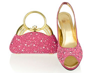New arrival 2014 italian shoes and mathing bags with rhinestone,fushia pink high heel women shoes free shipping, SB8786