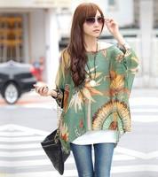 2014 New Fashion Lady Bohemian Style Chiffon Blouse Batwing Sleeve Beach Printed Shirt Plus Size Tops For Women clothing 19694