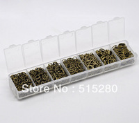 Free Shipping 1510pcs Antique Bronze Jump Rings Set with Case 4-9mm