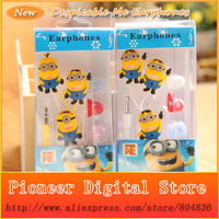 2pcs Stylish Despicable Me The Minion Pattern General 3.5mm In-Ear Earphone Headphone With Retail Box For Mobile Phone MP3