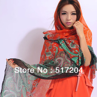 Desigual Fashion  gradient Voile Cashew flower print tribal aztec scarf Muslim Hijab long women Scarf Shawl 2013 free shipping