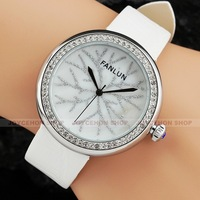 New Women Lady Pure White Snow Shell Dial Leather Band Quartz Wrist Watch Gift Q799