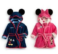 Free Shipping Winter Autumn Children Pajamas Robe Kids Cute animal pattern Bathrobes Baby Cartoon Home Wear Retail