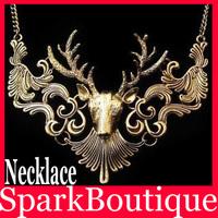Fashion Baroque Style Vintage Elk Deer Necklace Deer Head Collar Neckalce 6pcs/lot(can mix)