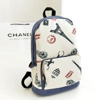 Hot sale canvas Backpack  Eiffel Tower hot girl backpack schoolbag Paris laptop bag large students casual rucksack