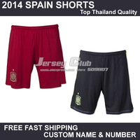 Top thailand quality 2014 Spain soccer shorts,Free shipping Spain football shorts home red