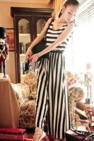 New Women Stripe Wide Leg Relaxed Long Jumpsuit Lady Sleeveless Vest Jumpsuit